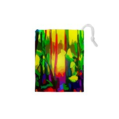 Abstract Vibrant Colour Botany Drawstring Pouches (xs)