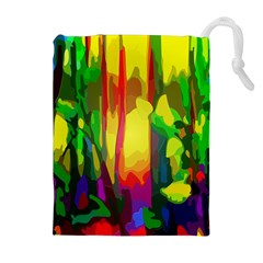 Abstract Vibrant Colour Botany Drawstring Pouches (extra Large)