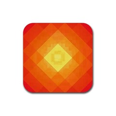 Pattern Retired Background Orange Rubber Square Coaster (4 Pack)