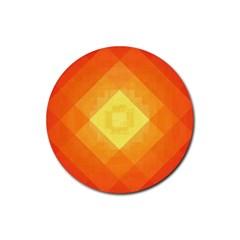 Pattern Retired Background Orange Rubber Coaster (round)