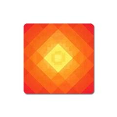 Pattern Retired Background Orange Square Magnet