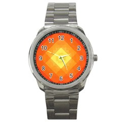 Pattern Retired Background Orange Sport Metal Watch