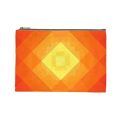 Pattern Retired Background Orange Cosmetic Bag (Large)