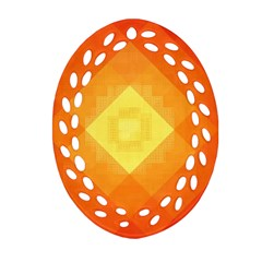 Pattern Retired Background Orange Ornament (oval Filigree)