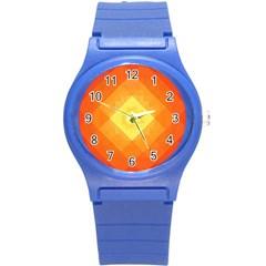 Pattern Retired Background Orange Round Plastic Sport Watch (S)