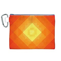 Pattern Retired Background Orange Canvas Cosmetic Bag (xl)