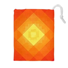 Pattern Retired Background Orange Drawstring Pouches (Extra Large)