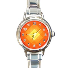 Pattern Retired Background Orange Round Italian Charm Watch