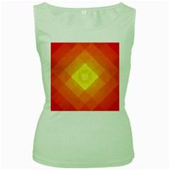 Pattern Retired Background Orange Women s Green Tank Top