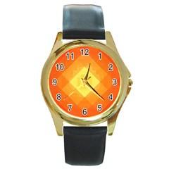 Pattern Retired Background Orange Round Gold Metal Watch