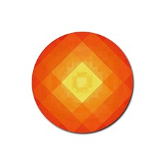 Pattern Retired Background Orange Rubber Round Coaster (4 pack)