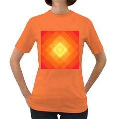Pattern Retired Background Orange Women s Dark T-Shirt