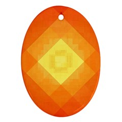 Pattern Retired Background Orange Oval Ornament (two Sides)