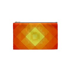 Pattern Retired Background Orange Cosmetic Bag (Small)