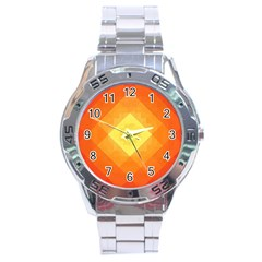 Pattern Retired Background Orange Stainless Steel Analogue Watch