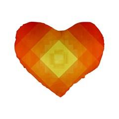 Pattern Retired Background Orange Standard 16  Premium Heart Shape Cushions