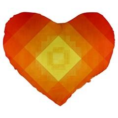 Pattern Retired Background Orange Large 19  Premium Heart Shape Cushions