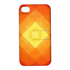 Pattern Retired Background Orange Apple Iphone 4/4s Hardshell Case With Stand