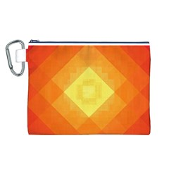 Pattern Retired Background Orange Canvas Cosmetic Bag (l)