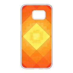 Pattern Retired Background Orange Samsung Galaxy S7 Edge White Seamless Case