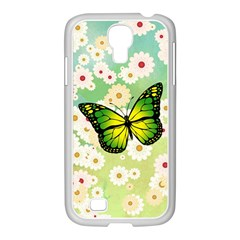 Green Butterfly Samsung GALAXY S4 I9500/ I9505 Case (White)