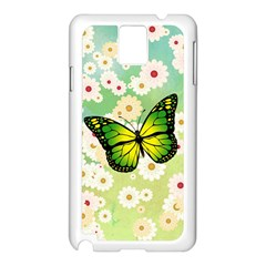 Green Butterfly Samsung Galaxy Note 3 N9005 Case (White)