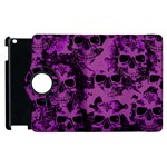 Cloudy Skulls Black Purple Apple iPad 3/4 Flip 360 Case Front