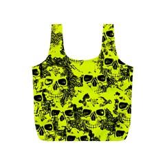 Cloudy Skulls Black Yellow Full Print Recycle Bags (s)