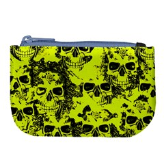 Cloudy Skulls Black Yellow Large Coin Purse