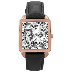 Cloudy Skulls B&w Rose Gold Leather Watch