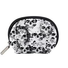 Cloudy Skulls B&w Accessory Pouches (Small)