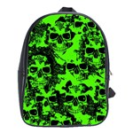 Cloudy Skulls Black Green School Bags(Large)  Front
