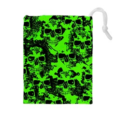 Cloudy Skulls Black Green Drawstring Pouches (extra Large)