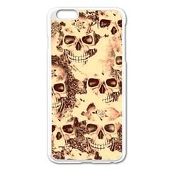 Cloudy Skulls Beige Apple iPhone 6 Plus/6S Plus Enamel White Case