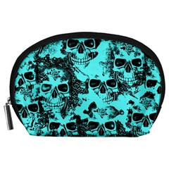 Cloudy Skulls Aqua Accessory Pouches (Large)