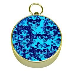 Cloudy Skulls Blue Gold Compasses