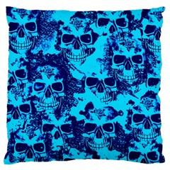 Cloudy Skulls Blue Large Flano Cushion Case (One Side)