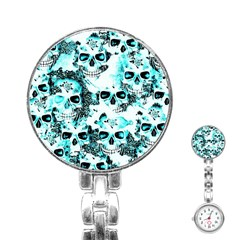 Cloudy Skulls White Aqua Stainless Steel Nurses Watch
