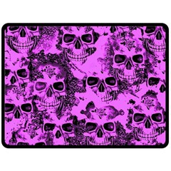 Cloudy Skulls Pink Double Sided Fleece Blanket (Large)