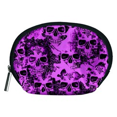 Cloudy Skulls Pink Accessory Pouches (Medium)