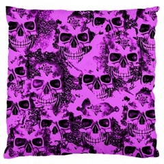 Cloudy Skulls Pink Large Flano Cushion Case (Two Sides)