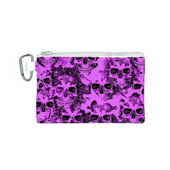 Cloudy Skulls Pink Canvas Cosmetic Bag (S)