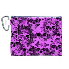 Cloudy Skulls Pink Canvas Cosmetic Bag (XL)