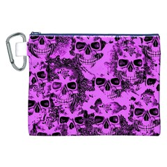Cloudy Skulls Pink Canvas Cosmetic Bag (XXL)