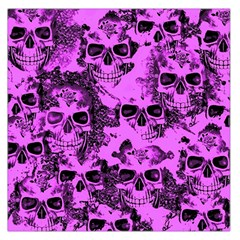 Cloudy Skulls Pink Large Satin Scarf (Square)