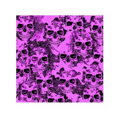 Cloudy Skulls Pink Small Satin Scarf (Square)