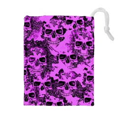 Cloudy Skulls Pink Drawstring Pouches (Extra Large)