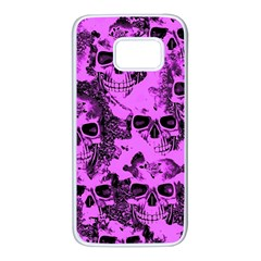 Cloudy Skulls Pink Samsung Galaxy S7 White Seamless Case