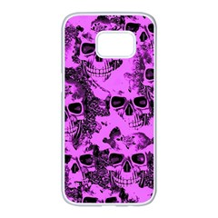 Cloudy Skulls Pink Samsung Galaxy S7 edge White Seamless Case
