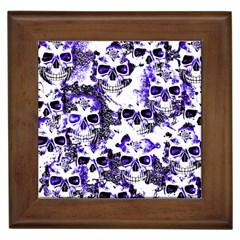 Cloudy Skulls White Blue Framed Tiles